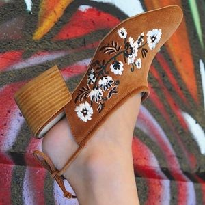 Anthropologie Shoes - NIB Tan Embroider Ankle Tie Closed Toe Mule